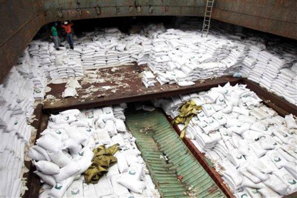 Trabajadores panameños de pie sobre sacos de azúcar debajo de los cuales se encontraron armas en un barco de Corea del Norte. El barco fue retenido en la terminal internacional de contenedores de Manzanillo en la costa de Colón, Panamá, el martes 16 de julio de 2013. (Foto AP Photo/Arnulfo Franco)
