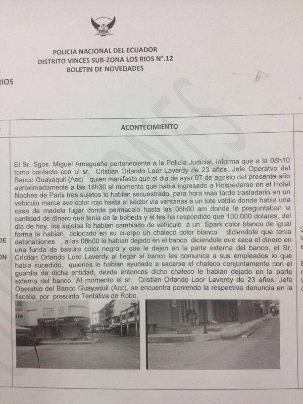 *Foto del parte policial tuiteado por la periodista Carola Artieda
