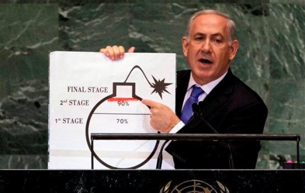 El primer ministro israelí Benjamin Netanyahu muestra una ilustración mientras expresa su preocupación por el programa nuclear de Irán durante su discurso ante la 67ma sesión de la Asamblea General de las Naciones Unidas el 27 de septiembre de 2012. Netanyahu censuró el martes 24 de septiembre de 2013 la nueva postura del presidente iraní Hasán Ruhani ante Occidente. (AP Foto/Richard Drew)