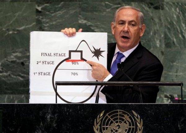 El primer ministro israelí Benjamin Netanyahu muestra una ilustración mientras expresa su preocupación por el programa nuclear de Irán durante su discurso ante la 67ma sesión de la Asamblea General de las Naciones Unidas. (AP Foto/Richard Drew)