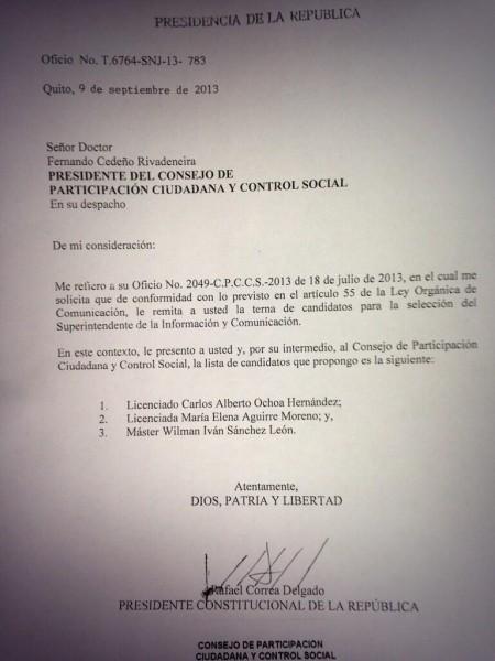 Carta de Correa presentando la terna. Foto: @CPCCS