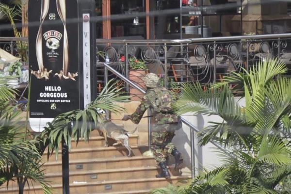 Un soldado de las Fuerzas de Defensa de Kenia ingresa, con un perro, al centro comercial Westgate, donde se encuentran secuestradas decenas de personas, en Nairobi, Kenya, el 22 de septiembre de 2013. EFE/EPA/DAI KUROKAWA