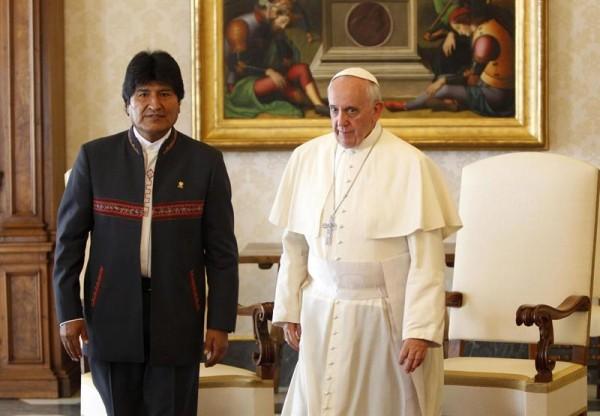 Evo Morales durante su encuentro con el papa Francisco en septiembre de 2013.