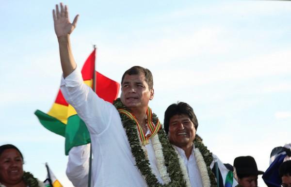 Los presidentes de Ecuador y Bolivia, Rafael Correa y Evo Morales. Foto de Archivo, La República.