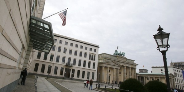 Entrance to US embassy is pictured in Berlin
