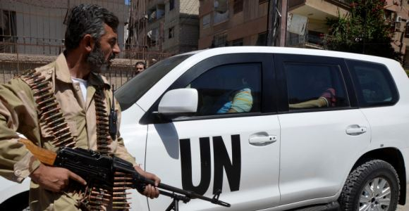 Inspectores de la ONU en las alrededores de Damasco.