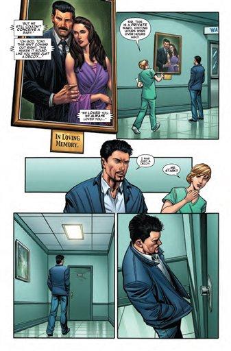 """Una página de """"Iron Man"""" No. 17, a la venta el miércoles 23 de octubre de 2013 en Estados Unidos en una fotografía proporcionada por Marvel. En el número Tony Stark será sorprendido por dos secretos familiares que le harán cambiar su visión del mundo. (Foto AP/Marvel)"""