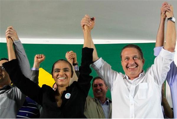 Marina Silva y el fallecido Eduardo Campos.