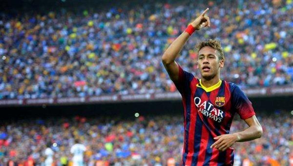 El brasileño Neymar festeja su gol con el Barcelona en el clásico ante el Real Madrid, el sábado 26 de octubre de 2013 (AP Foto/Manu Fernández)