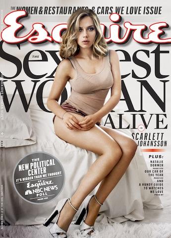 Johansson en la portada de noviembre de Esquire. La revista saldrá a la venta el 15 de octubre. (Foto AP/Esquire)