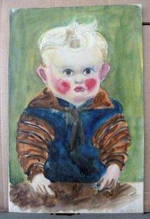 "obra ""Kind am Tisch"" (Niño en una mesa) de Otto Griebel,"