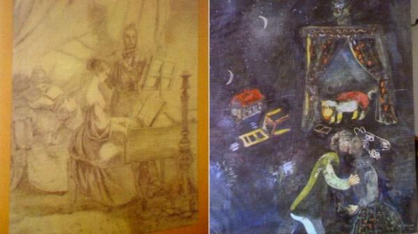 Una obra sin identificar y un cuadro del francés de origen bielorruso Marc Chagall