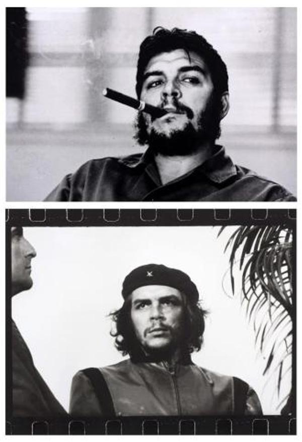 """Combo de fotografías facilitadas por la galería Westlicht de Viena, del guerrillero argentino-cubano Ernesto Che Guevara, que subastará el viernes 22 de noviembre, según ha informado hoy la galería. Arriba, una fotografía tomada en 1963 por el suizo René Burri; y abajo, una instantánea de Alberto Díaz """"Korda"""" titulada """"Guerrillero Heroico"""" (1960). Korda es el autor de varias fotos memorables, pero la que le llevó a la cima de la fama fue la instantánea del Che Guevara el cinco de marzo de 1960, durante el entierro de las víctimas de la explosión de un buque fondeado en la Habana, convirtiéndose en la fotografía más reproducida de la historia. EFE"""
