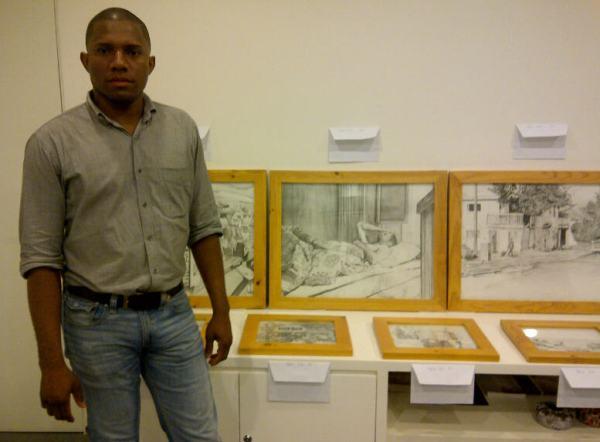 Leonidas Corozo y algunos de sus dibujos