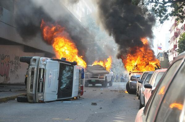 Protestas violentas en Caracas