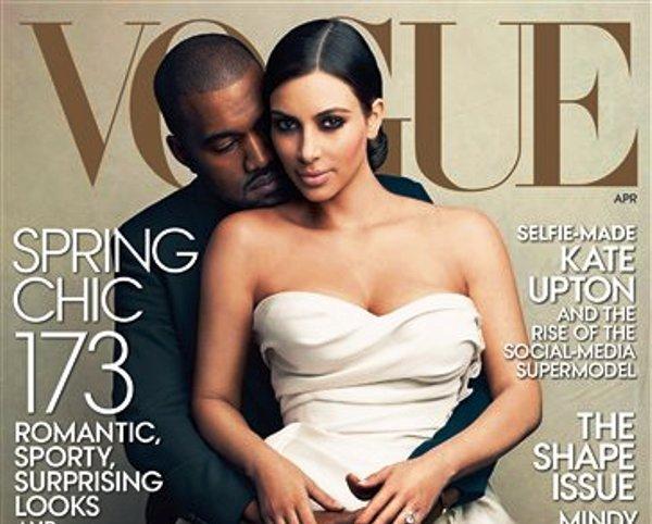 Kanye West y Kim Kardashian en una fotografía de Annie Leibovitz para la portada del número de abril de Vogue. El número de abril de la revista sale a la venta el 31 de marzo de 2014. (Foto AP/Vogue, Annie Leibovitz)