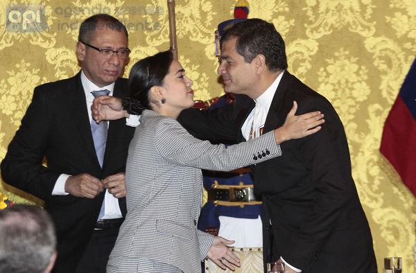 QUITO 31 DE MARZO DEL 2014. El Presidente de la Republica Rafael Correa realizo el acto de posecion de los nuevos ministros FOTOS API / JUAN CEVALLOS.