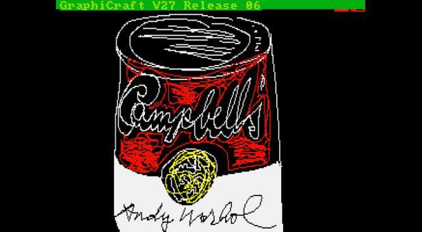 Imagen cedida hoy 25 de abril de 2014 por el Museo de Andy Warhol en Pittsburgh (Pensilvania, EE.UU.) que muestra una obra del autor de su serie de la lata de sopa Campbell y que fue encontrada en un disquete de 1985 de una computadora Commodore Amiga 1000 del autor. a lata de sopa Campbell o el rostro de Marilyn Monroe, que inspiraron las obras más famosas de Andy Warhol, cobran nueva forma en una docena de dibujos y fotografías que el artista creó hace casi 30 años en una computadora y que hasta hoy habían permanecido inéditos, ocultos en antiguos disquetes. EFE
