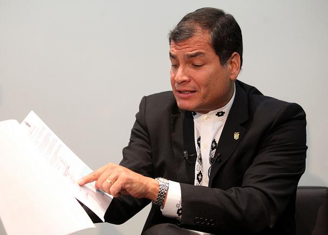 Madrid (España), 25 de abril de 2014.- El Presidente de la República, Rafael Correa, durante una entrevista con la Agencia de Noticias EFE, en Madrid. Foto: Miguel Ángel Romero/Presidencia de la República.