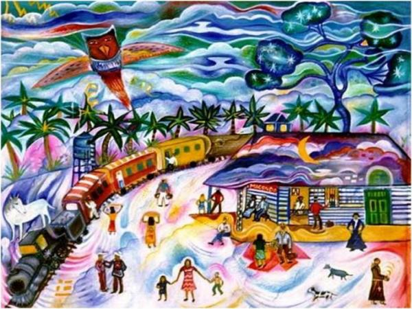Pintura ilustrativa de Macondo, el mundo creado por Gabriel García Márquez. Foto de Archivo, La República.