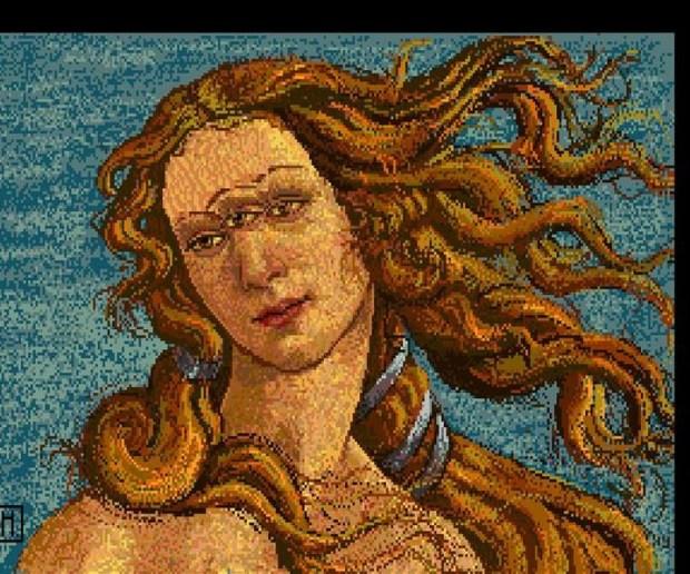 """Imagen cedida hoy 25 de abril de 2014 por el Museo de Andy Warhol en Pittsburgh (Pensilvania, EE.UU.) que muestra una obra del autor titulada """"Venus"""" y que fue encontrada en un disquete de 1985 de una computadora Commodore Amiga 1000 del autor. a lata de sopa Campbell o el rostro de Marilyn Monroe, que inspiraron las obras más famosas de Andy Warhol, cobran nueva forma en una docena de dibujos y fotografías que el artista creó hace casi 30 años en una computadora y que hasta hoy habían permanecido inéditos, ocultos en antiguos disquetes. EFE"""