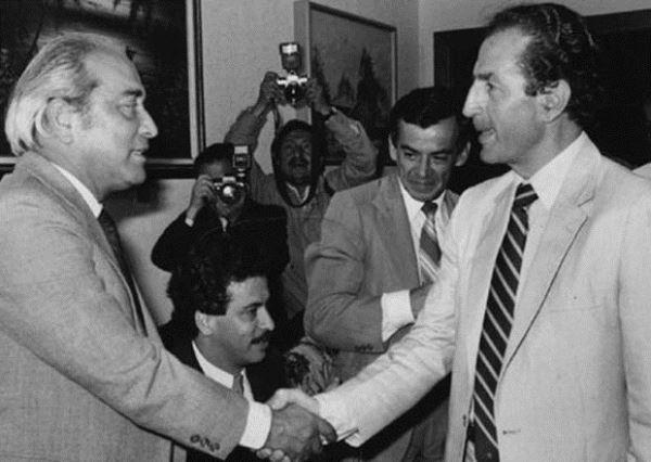 Raúl Baca con Rodrigo Borja, durante la campaña de 1978.