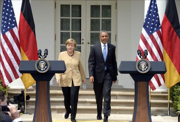 Angela Merkel y Barack Obama. Foto de Archivo, La República.
