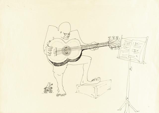 Dibujo sin título de John Lennon. (AP Foto/Sotheby's, John Lennon)