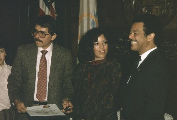 1984. El presidente Daniel Ortega y la primera dama Rosario Murillo.