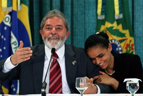 Marina Silva y el entonces presidente Lula da Silva.