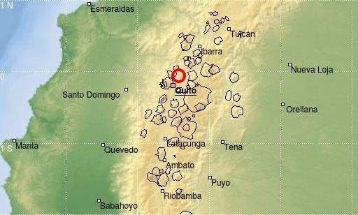 El lugar del sismo, según el Instituto Geológico del Ecuador.