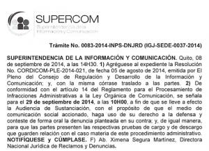 Notificación de la Superintendencia de Información y Comunicación.