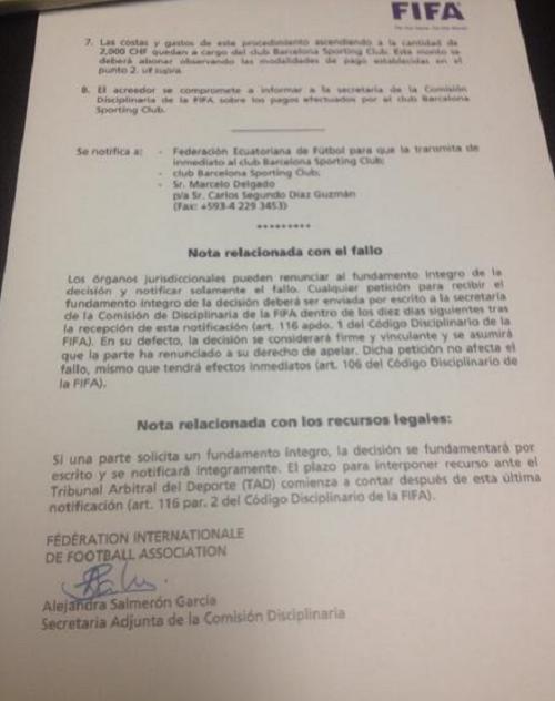 Fallo FIFA cAso Delgado BSC