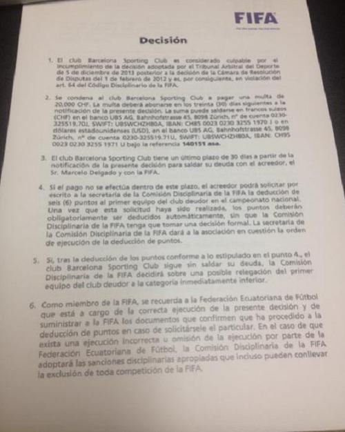 Fallo FIFA caso Delgado BSC 2