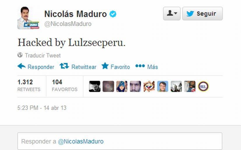 La cuenta de Nicolás Maduro fue hackeada por LulzSecPeru.