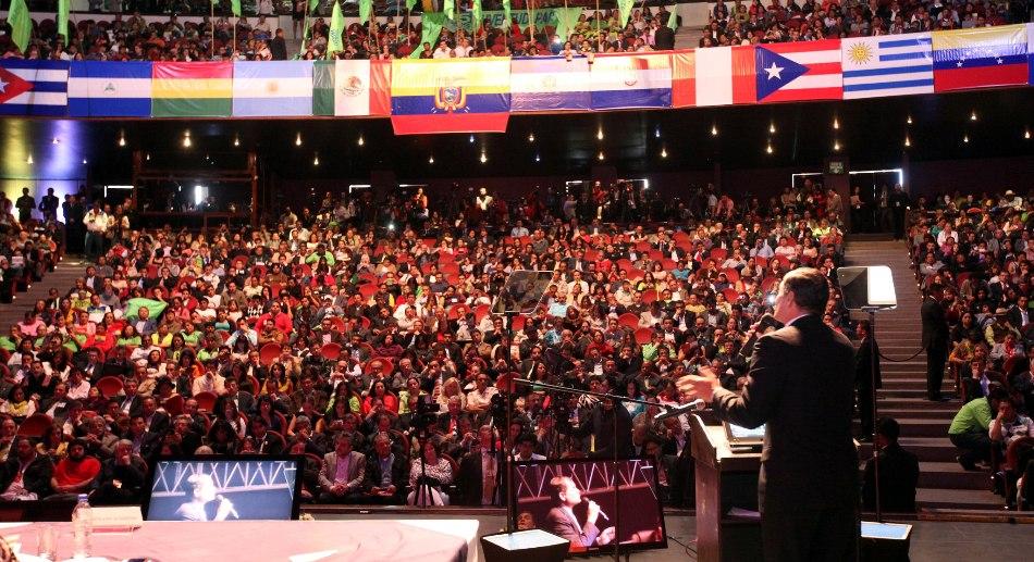 El Presidente Rafael Correa Delgado, durante Inauguración del Encuentro Latinoamericana de Movimientos de Izquierda (ELAP 2014), realizado en el Teatro de la Casa de la Cultura. Foto: Mauricio Muñoz E / Presidencia de la República.