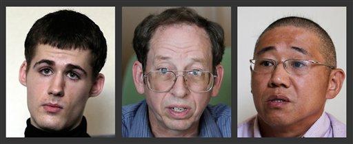 Esta serie de fotografías muestran, de izquierda a derecha, a Mathew Miller, Jeffrey Fowle y Kenneth Bae, tres estadounidenses detenidos en Corea del Norte, mientras hablan con The Associated Press, el lunes 1 de septiembre de 2014 en Pyongyang, Corea del Norte. (Foto AP/Wong Maye-E)