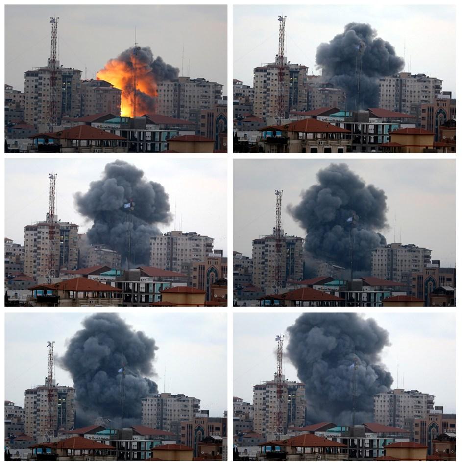 Secuencia fotográfica en la que se observa la forma en que un bombardeo israelí derriba una torre (al centro) del complejo de apartamentos Al-Zafer en Ciudad de Gaza, en el norte de la Franja de Gaza, antes del anochecer del sábado 23 de agosto de 2014. (Foto AP/Adel Hana)