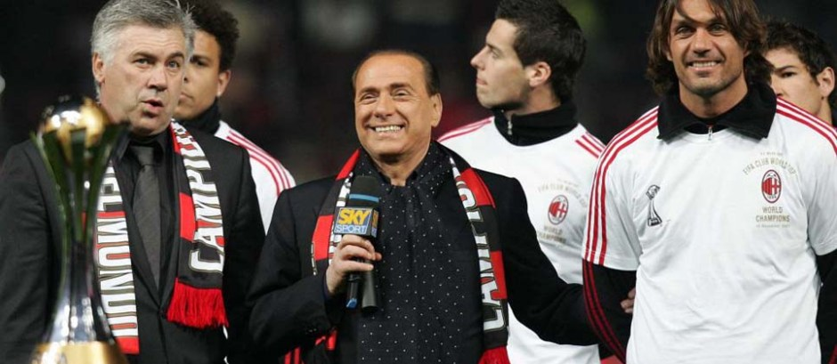 Berlusconi, Ancelotti y Maldini