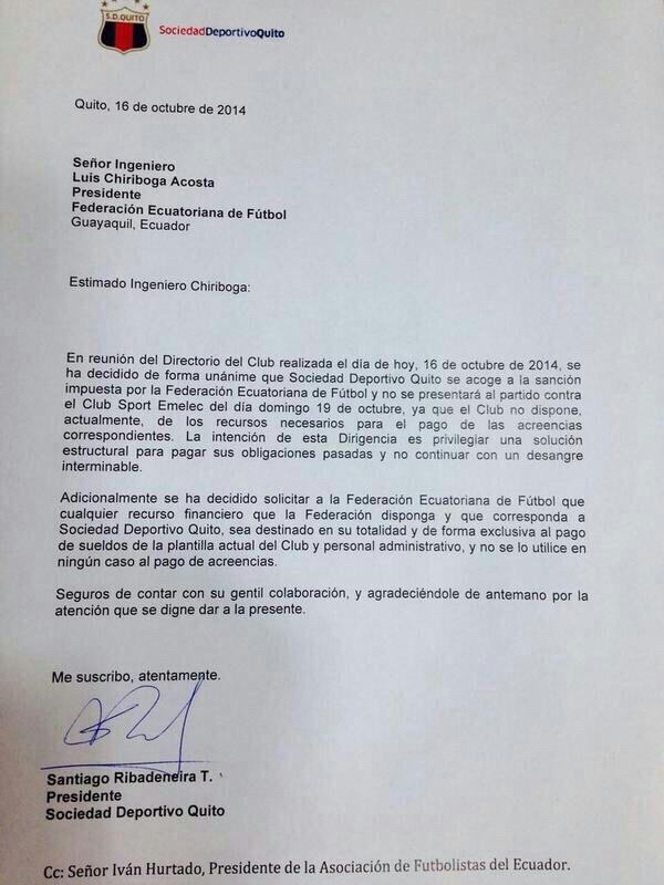 Comunicado enviado por el Deportivo Quito a la FEF donde anuncia que no jugará frente a Emelec. Cortesía AFE.