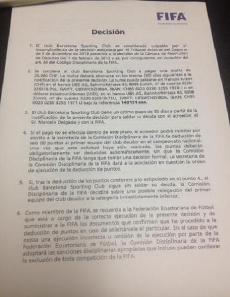 Notificacion FIFA a BSC por Chelo Delgado 1