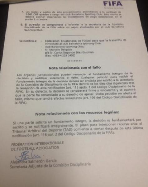 Notificacion FIFA a BSC por Chelo Delgado 2