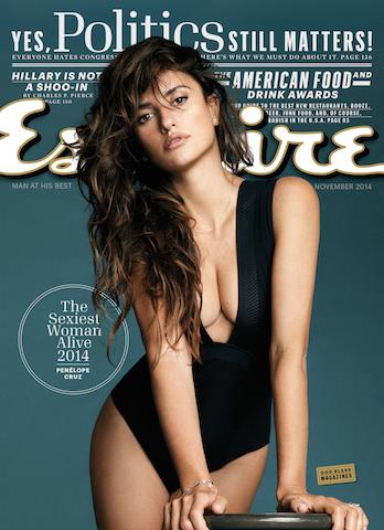 """Esta imagen proporcionada por la revista Esquire muestra a la actriz Penélope Cruz en la portada del número de noviembre de 2014 de la revista. Esquire ha nombrado a Cruz """"mujer más sexy"""" del mundo en 2014. (AP Foto/Esquire)"""
