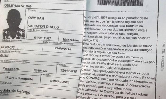 Documento de identidad de Souleymane Bah, difundido por O Globo.
