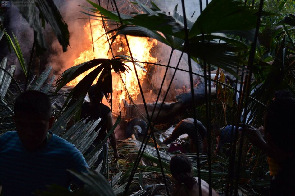 Una avioneta tipo Cessna que viajaba y cubria la ruta Sarayaku - Shell en la provincia de Paztasa, provincia amazonica se accidento dejando 5 muertos y 2 heridos. Foto ECO Amazónico / API.