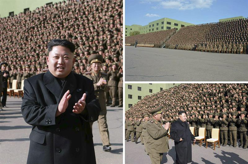 Combo fotográficao suministrado por la Agencia Central Norcoreana de noticias (KCNA) hoy, miércoles 5 de noviembre de 2014, que uestra al líder norcoreano, Kim Jong-un, quien se moviliza sin su bastón, durante un evento con comandantes militares este 4 de Noviembre en Pyongyang (Corea del norte). EFE/KCNA