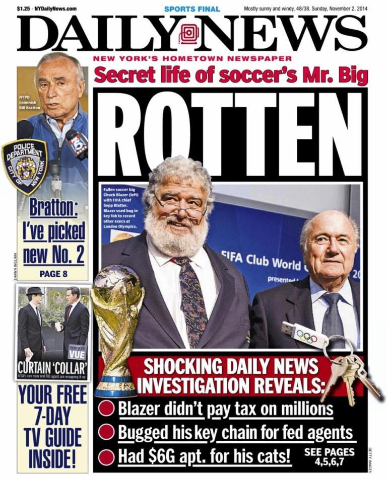 Portada de la sección deportes del diario New York Daily News del 2 de noviembre del 2014, donde se habla de Chuc Blazer y la FIFA.