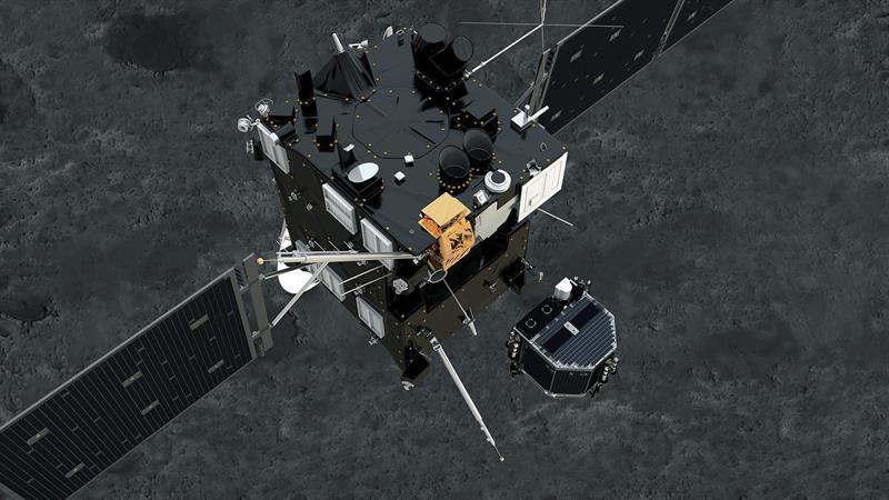 DARMSTADT (ALEMANIA) 12/11/2014.- Fotografía sin fechar facilitada por la Agencia Espacial Europea (ESA) de un fotograma de la animación del módulo Philae mientras se separa de Rosetta y desciende sobre la superficie del cometa 67/P Churyumov-Gerasimenko. El módulo Philae sigue vivo en la dirección correcta hacia el cometa 67/P Churyumov-Gerasimenko, en el que aterrizará sobre las 16.00 horas GMT para estudiar su composición. EFE/Esa / Atg Medialab /