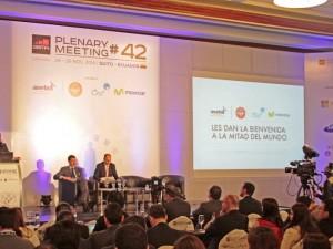 Ministro de Telecomunicaciones, Ing. Augusto Espín, inaugura el Plenary Meeting de las GSMA, el 25 de noviembre de 2014r, en Quito. Foto del Ministerio de Telecomunicaciones.