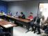 Carlos Rodríguez (cuarto desde la izquierda), Leonardo Stagg, Damián Lanza, Antonio Noboa y Máximo Banguera, se encuentran reunidos en la Comisión DIsciplinaria de Fútbol en la FEF. (Foto cortesía de Giovanni González León)